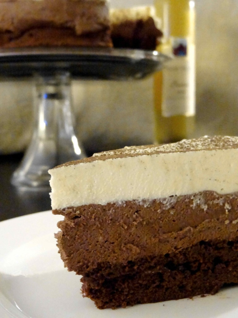 Triple chocolate mousse cake and ice wine